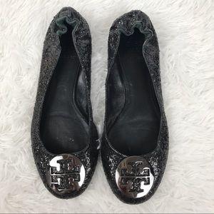 Tory Burch Black Glitter Reva Flats Sz 8